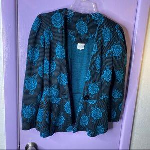 Blue Floral Print Blazer S